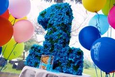 Första årsfödelsedagparti Royaltyfria Bilder