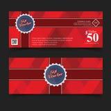 Första färg för presentkort, band och röd pilbåge Royaltyfria Bilder
