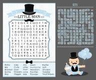 Första födelsedag för liten mansällskapsspel, pussel för baby showerordsökande Gullig blått- och vittappning Arkivbild