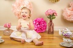 Första födelsedag Photoshoot Fotografering för Bildbyråer