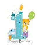 Första födelsedaghälsningkort Nallebjörn, kanin och fågelungevektorbakgrund Arkivbild