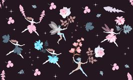 Första flyg av blom- feer och älvor i vår Magiska varelser med härliga blommor vektor illustrationer