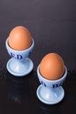 första fokus två för bruna ägg Royaltyfri Bild