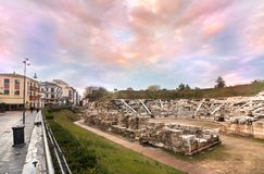 Första forntida teater, Larissa, Grekland royaltyfri bild