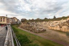 Första forntida teater, Larissa, Grekland royaltyfria bilder