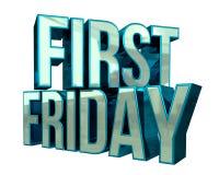 Första fredag 3D text Royaltyfri Bild