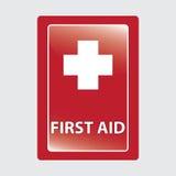 Första hjälp över röd medicinsk bakgrund. Royaltyfri Bild