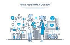Första hjälpen från doktorn, modern medicin, medicinsk vård, sjukvård, försäkring stock illustrationer
