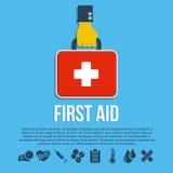 Första hjälpensatsbegrepp Arkivfoton