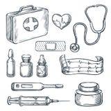 Första hjälpensatsen skissar illustrationen Utdragna symboler för medicin- och sjukvårdhand och designbeståndsdelar stock illustrationer