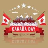 Första Juli lycklig Kanada dag med den kanadensiska vinkande flaggan stock illustrationer