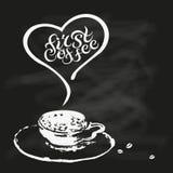 Första kaffecitationstecken på kritabordbakgrund Royaltyfria Foton