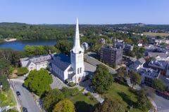 Första kongregationalistiska kyrka, Winchester, MOR, USA Arkivfoto