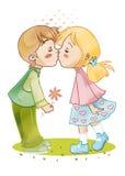 första kyss royaltyfri illustrationer