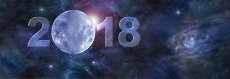 Första måne i Websitetitelraden 2018 arkivfoton