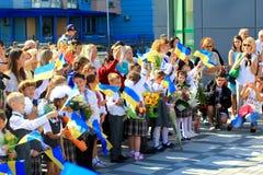 Första skoladag i Kiev, Ukraina Royaltyfri Fotografi