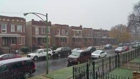 Första snöfall av säsongen lager videofilmer