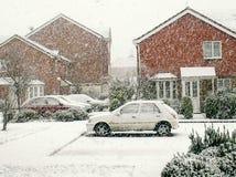 Första snöfall för juldag arkivbilder