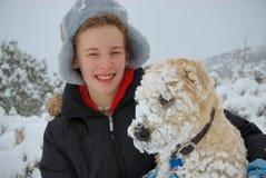första snow för hundar Royaltyfri Bild
