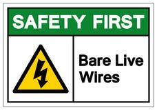 Första stång Live Wires Symbol Sign, vektorillustration, isolat för säkerhet på den vita bakgrundsetiketten EPS10 royaltyfri illustrationer