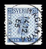 Första svenska design för portostämpel, stämpeljubileumserie, circa 1 Fotografering för Bildbyråer