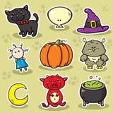 Första uppsättning av halloween symboler. Arkivfoto