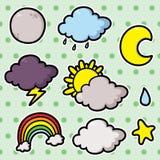 Första uppsättning av vädersymboler. Royaltyfria Bilder