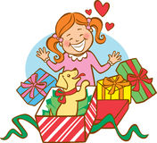 första valp s för jul Royaltyfria Bilder