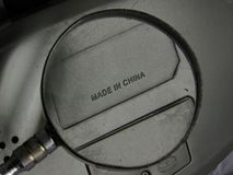 Förstorat gjort i den Kina etiketten royaltyfri bild