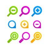 Förstoringsapparat för logo för tecken för rengöringsduk för Loupesymbolsuppsättning Royaltyfria Bilder