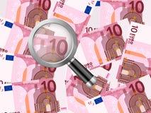 Förstoringsapparat på bakgrund för euro tio stock illustrationer