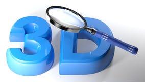Förstoringsapparat på blått 3D - tolkning 3D vektor illustrationer
