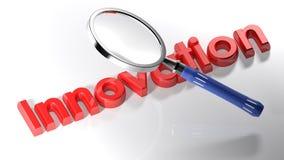 Förstoringsapparat på innovation - tolkning 3D Arkivfoton