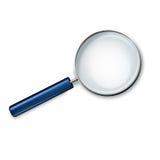Förstoringsglas med blåtthandtaget på den vita bakgrundsvektorillustrationen Royaltyfri Foto