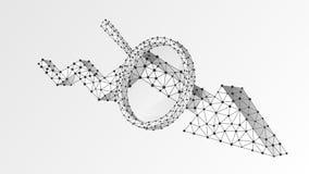 Förstoringsglas på Downtrendpil Marknadskrisanalys, infographic reserchbegrepp Abstrakt digitalt, wireframe, poly bottenl?ge stock illustrationer