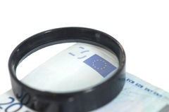 Förstoringsglas på 20 euro Arkivfoton