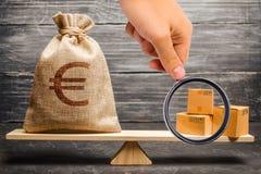 Förstoringsglaset ser en påse av europengar och en grupp av askar på vågen Ekonomisk förbindelse mellan ämnen royaltyfri bild