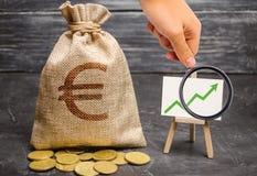 Förstoringsglaset ser en påse med europengar och den gröna pilen upp på diagrammet Begreppet av ökande vinster royaltyfria foton