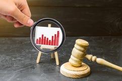 Förstoringsglaset ser informationsdiagrammen om ställningen och en trähammare av en domare brotts- stigning Förbättra effektivite fotografering för bildbyråer
