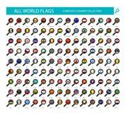 Förstoringsglasflaggasymboler All del 1 för landsflaggor vektor illustrationer