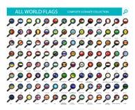 Förstoringsglasflaggasymboler All del 2 för landsflaggor stock illustrationer