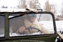 Försvarare av Stalingrad i en vinterform Royaltyfria Bilder
