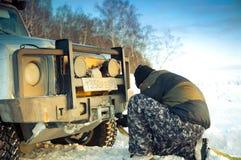 försvarare främre Land Rover Royaltyfri Bild