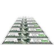 Försvinna dollar på en vit bakgrund Arkivbilder