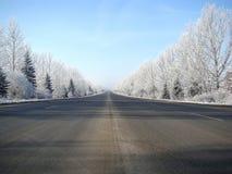 Försvinna snö-täckt rak klassisk vinterplats av en highwa Arkivbilder