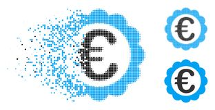 Försvinnande Dot Halftone Euro Quality Stamp symbol royaltyfri illustrationer