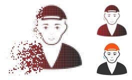 Försvinnande Dot Halftone Gay Dude Icon royaltyfri illustrationer