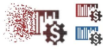 Försvinnande för Barcodepris för PIXEL rastrerad symbol för aktivering vektor illustrationer