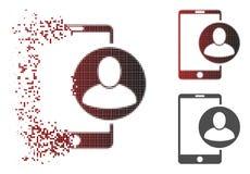 Försvinnande symbol för profil för Pixelated rastrerad telefonanvändare royaltyfri illustrationer