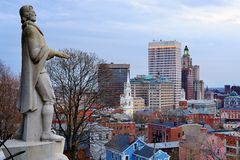 Försyn Rhode Island Skyline royaltyfri fotografi